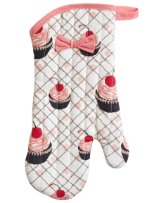 Jessie Steele Cherry Cupcakes Oven-Mitt with Bow