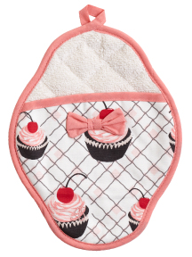 Jessie Steele Cherry Cupcake Scalloped Pot Mitt